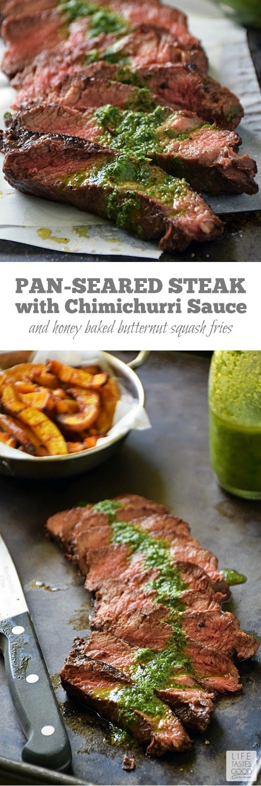 Pan-Seared Steak with Chimichurri sauce | by Life Tastes Good is an easy to make dinner any night of the week! Flat-iron steak is one of the most flavorful cuts, and it is more budget-friendly than some other popular cuts, which makes it a great choice for #WeekdaySupper! #LTGrecipes