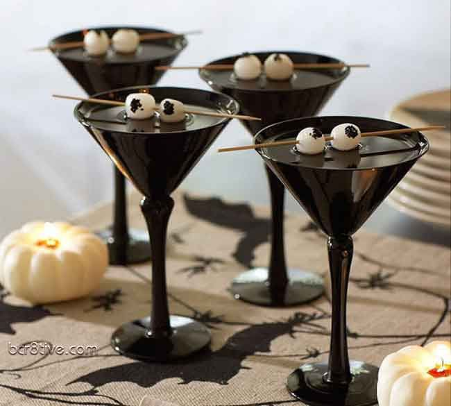 Halloween Party Ideas - Black Martini Glasses with Vodka Gibson Cocktail and Onion Garnish (for Eyeballs)