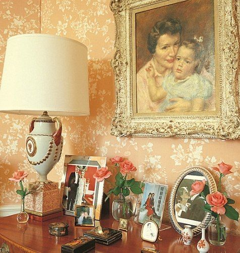 Nancy Reagans dressing roomhas a portrait by Paul Clemens of her and her daughter, Patti. Interior Design by the late Los Angeles designer Ted Graber.