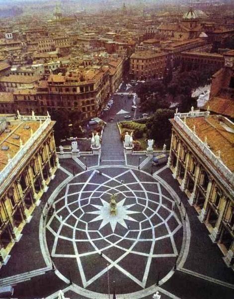 Piazza del Campidoglio, The Capitoline contains few ancient ground-level ruins, they are almost entirely covered up by Medieval and Renaissance palaces (now housing the Capitoline Museums) that surround a piazza, a significant urban plan later designed by Michelangelo.