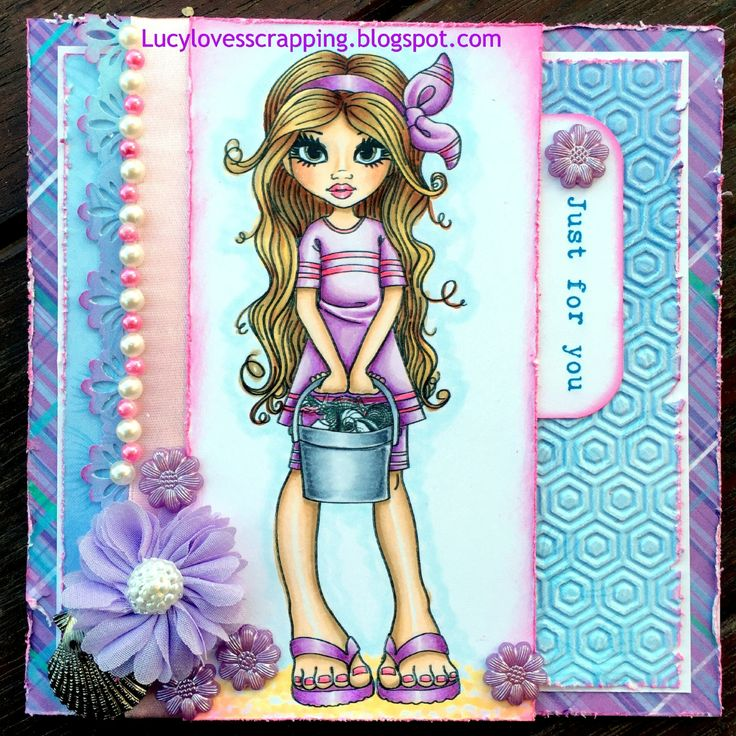 Lucy loves scrapping Cute as a Button handmade hand colored summer girl card