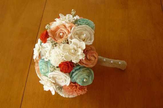 Wedding Bouquet Sola Peach Bouquet Mint Coral by TheBloomingCorner, $115.00