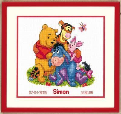 Borduurpakket Winnie the Pooh en vrienden. Op het werk is ruimte voor het plaatsen van de naam, geboortedatum en geboortegewicht. Het uiteindelijke werk wordt c