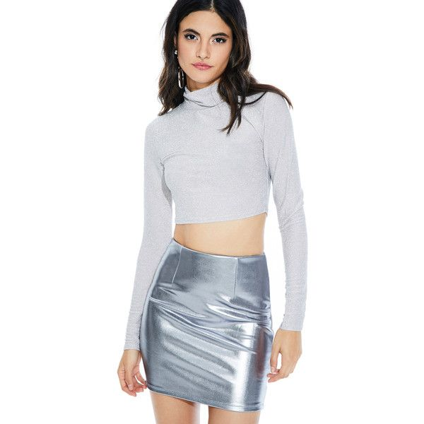 Sparkle 90s Crop Top Silver ($25) ❤ liked on Polyvore featuring tops, cut-out crop tops, crop top, sparkly crop top, turtle neck crop top and turtle neck top