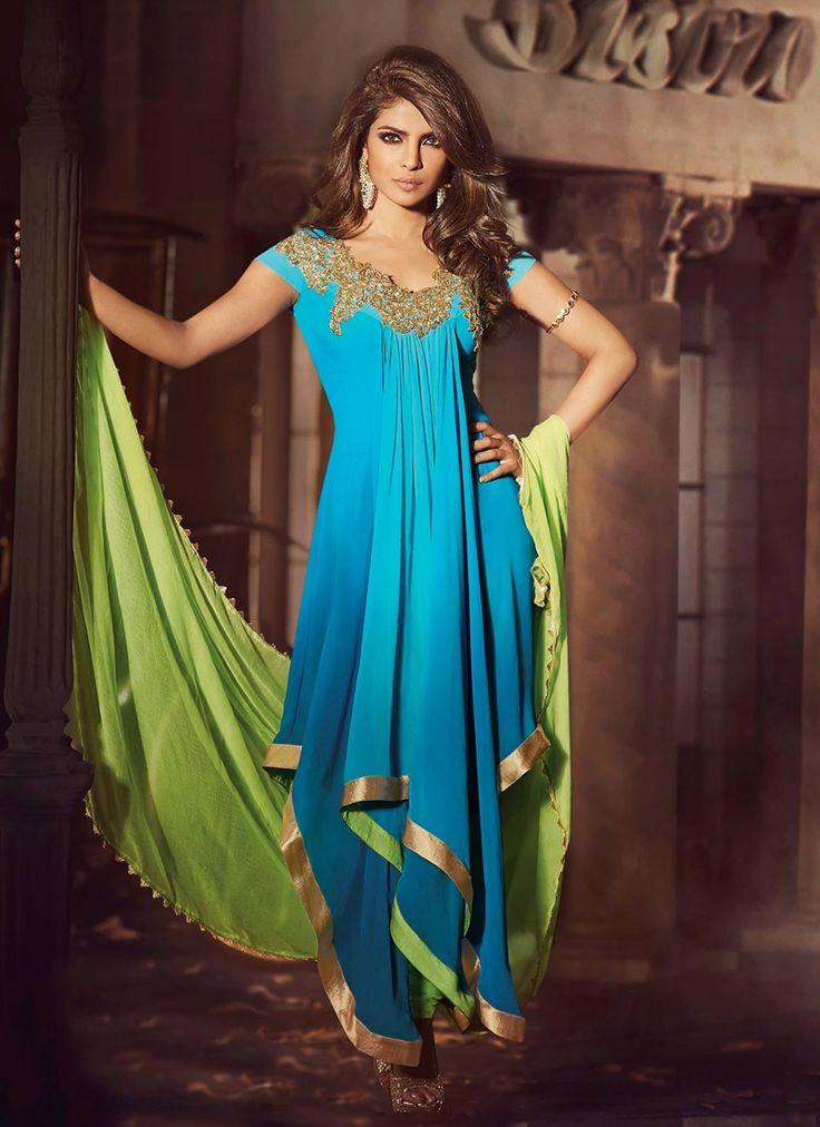 Beautiful Blue and Green Anarkali