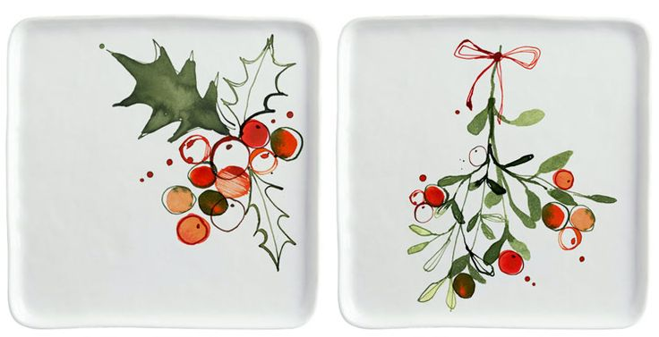 Margaret Berg Art: Christmas Holly Dinner Plates