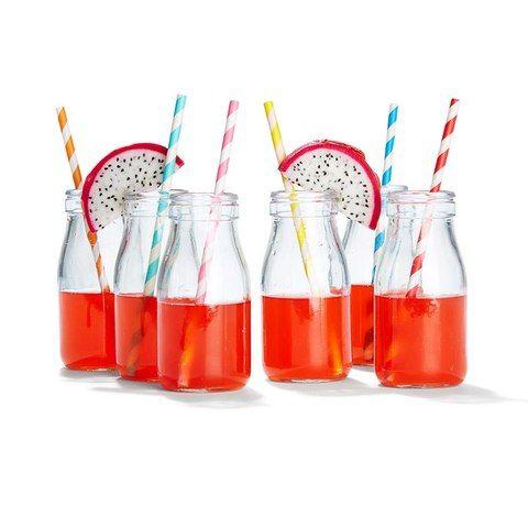 Glass Milk Bottles - Pack of 6