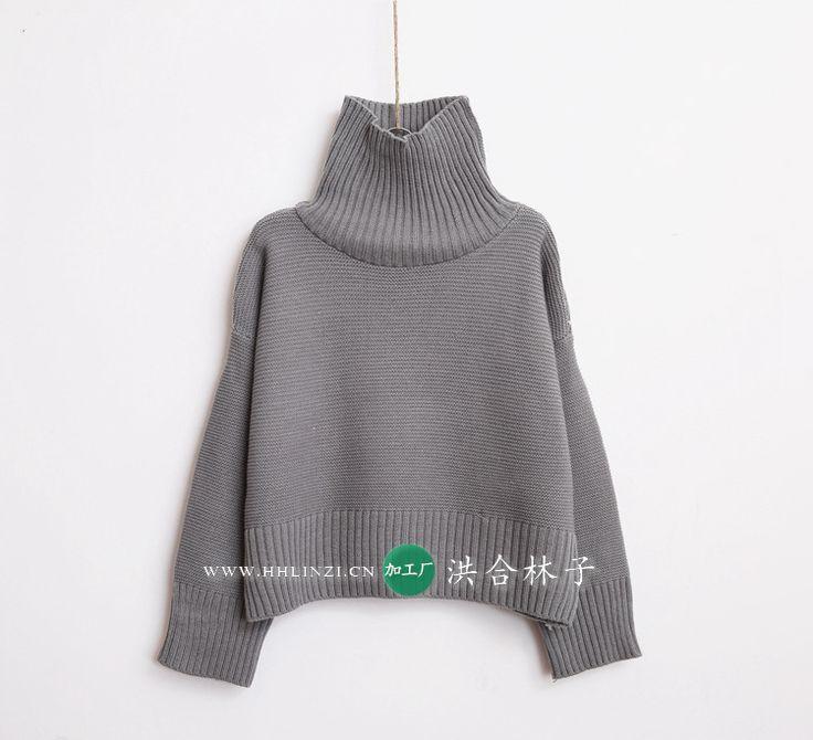 2015 зима новые широкий высокий воротник с лацканами темперамент сплошной короткий свитер вязать 6622 купить на AliExpress