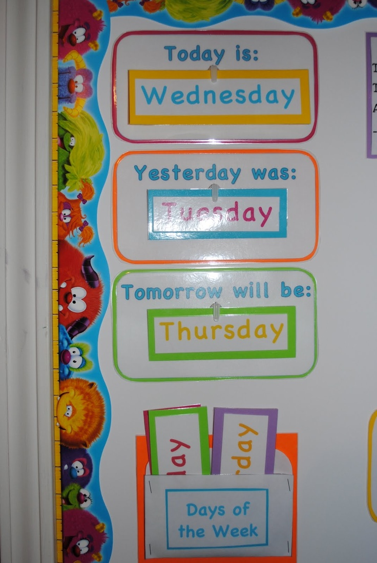 """First we have our """"Today is..."""", """"Yesterday was..."""", """"Tomorrow will be..."""" section. This reinforces the days of the week, their order, etc."""