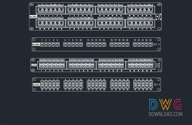 Patch Panel Cad Blocks. It is an AutoCAD dwg drawing file containing cad blocks drawings of patch panels with different numbers of entries.And about electronic appliances cad blocks, cad blocks free, dwg blocks, cad blocks, patch panel cad blocks.