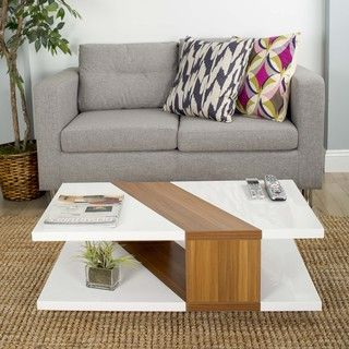 Bianca High-gloss Lacquer Walnut Finished Rectangular Coffee Table | Overstock.com Shopping - The Best Deals on Coffee, Sofa & End Tables