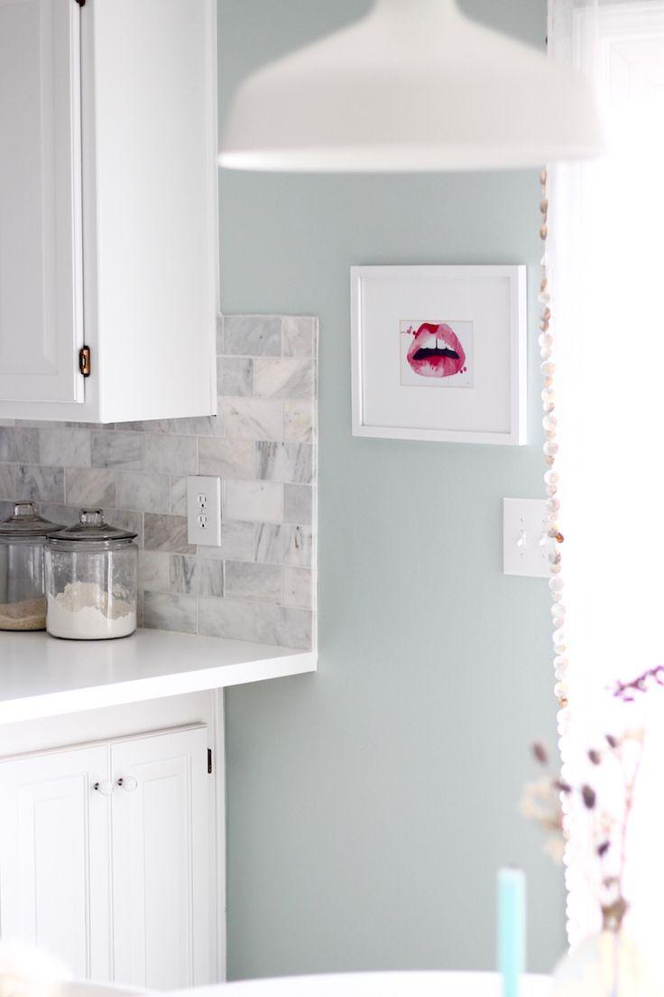 Benjamin moore palladian blue bathroom - White Kitchen Cabinets White Countertops Marble Backsplash Palladian Blue Benjamin Moore Walls Benjamin Moore Decorator S White Cabinets Trim