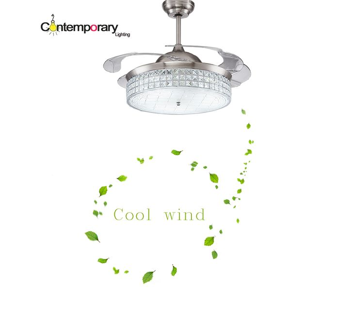 Modern Ceiling Fan Crystal Retractable Blades Remote Control With Lights Invisiable LED Folding Ceiling Fan Dining Room Lamp from Reliable fan control windows xp suppliers on Contemporary Store