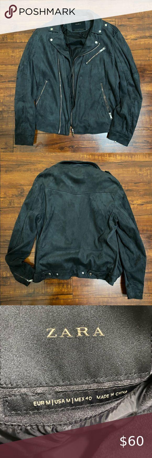 Zara Men's Biker Jacket Suede Biker Jacket Gray in 2020