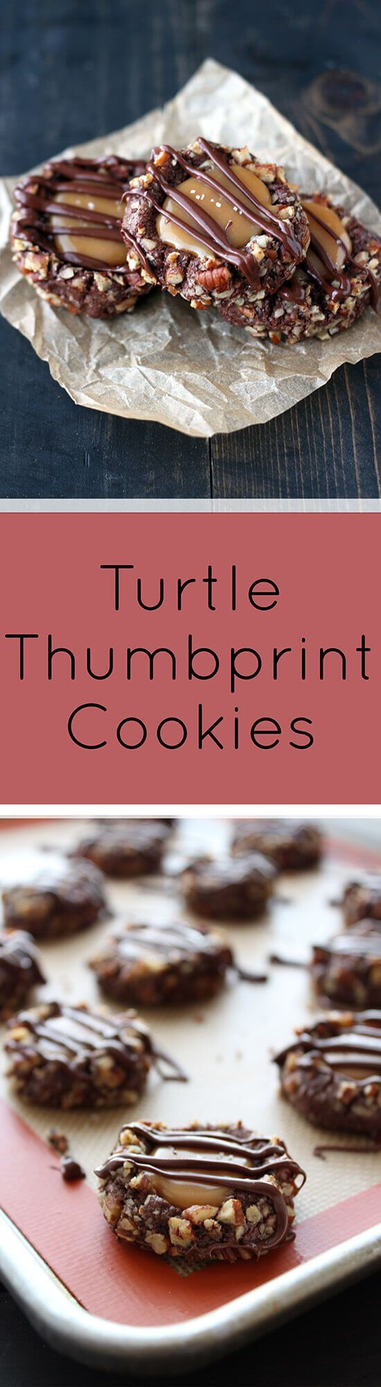 Turtle Thumbprint Cookies are mouthwatering with a cocoa cookie rolled in pecans, salted caramel, and chocolate drizzle!