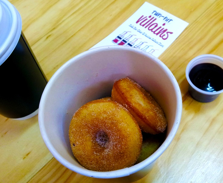 Here are the mini Vegan Donuts - I gots them ta go...but would love to sit at the bar next time sipping a soda (maybe even a vegan float) with 'em... YUM