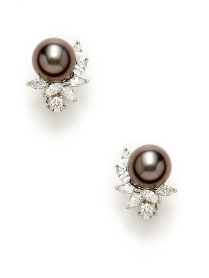 Tahitian Pearl & Diamond Cluster Earrings (with a white pearl and sapphires instead of diamonds)