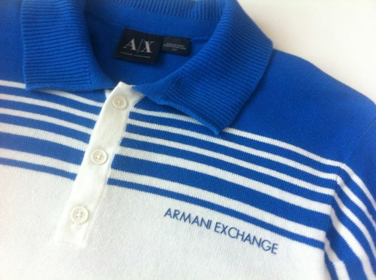 "#Armani Exchange men's polo shirt AX white blue Size S Small - SOLD ""Nice shirt, My son really likes it, Quick reasonable shipping! A++++++++++++"""