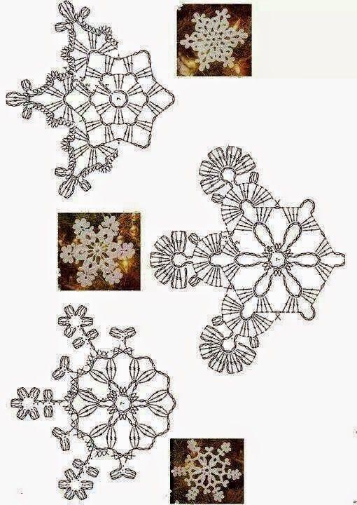Tantissimi Fiocchi di neve all'uncinetto per Natale, da usare come sottobicchieri, come addobbi natalizi, come elementi singoli da riun...