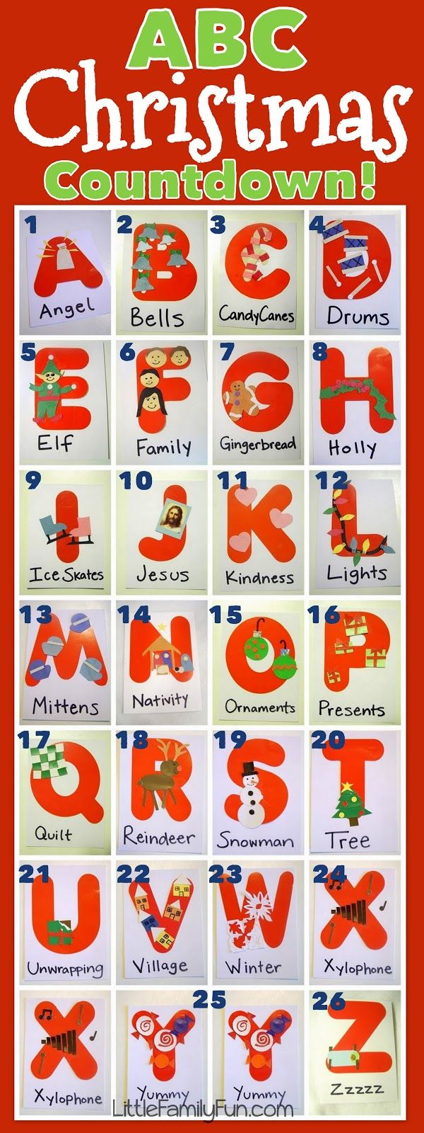 Countdown to Christmas using the ABCs. Includes some activities that go with the letters.