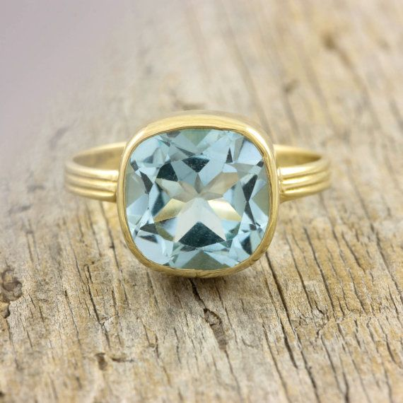 Blue Topaz ring, Citrine ring, cushion bezel, anniversary gift, solitaire ring, natural gemstone, birthday ring, solid gold ring, R250