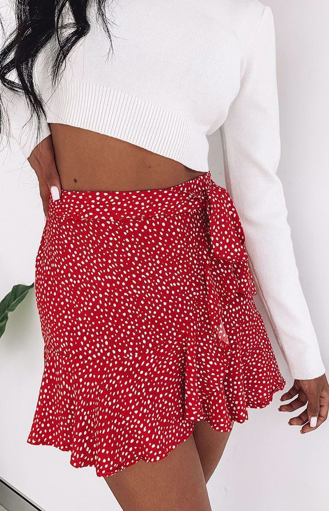 Flute Skirt Red Print Cute Skirt Outfits Skirt Shopping Fashion