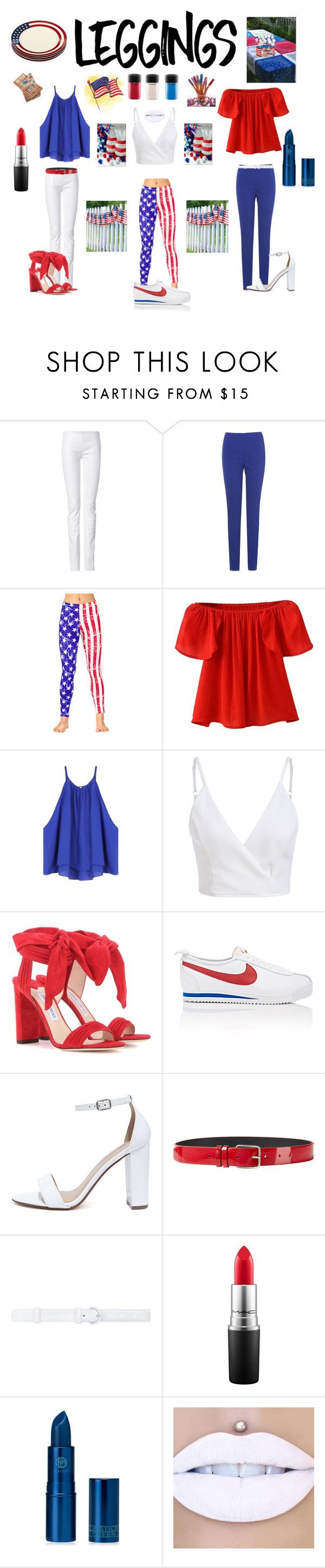 """Red, White & Blue Leggins"" by kotnourka ❤ liked on Polyvore featuring Jitrois, Phase Eight, WithChic, Jimmy Choo, NIKE, My Delicious, Jil Sander, Oscar de la Renta, MAC Cosmetics and Lipstick Queen"