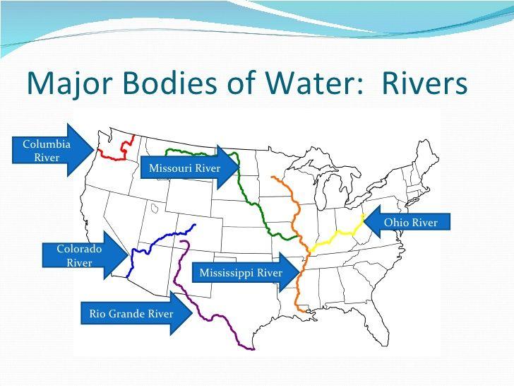 Worksheet. bodies of water mississippi river ohio river missouri river