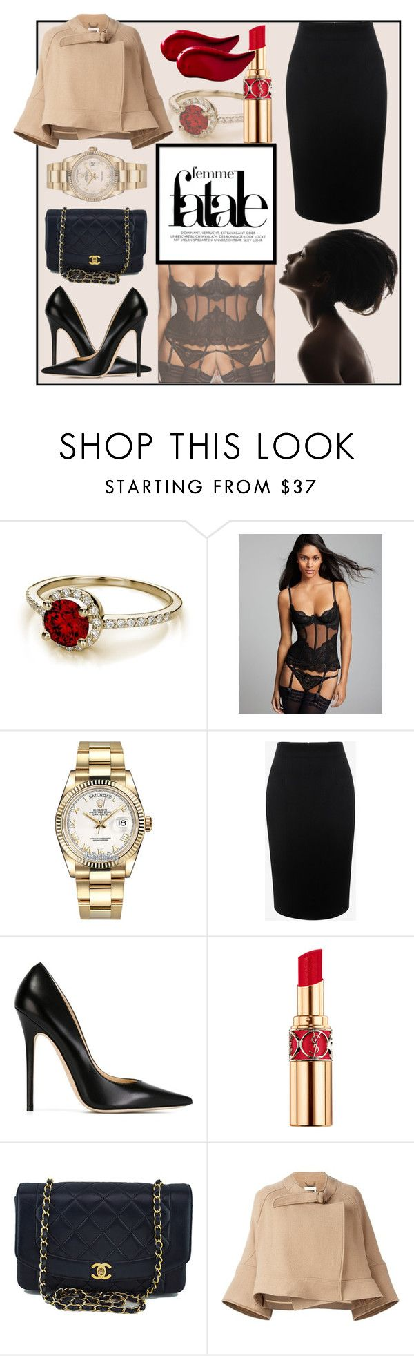 """Femme Fatale"" by slavulienka on Polyvore featuring L'Agent By Agent Provocateur, Rolex, Alexander McQueen, Jimmy Choo, Yves Saint Laurent, Chanel, Chloé and Kat Von D"