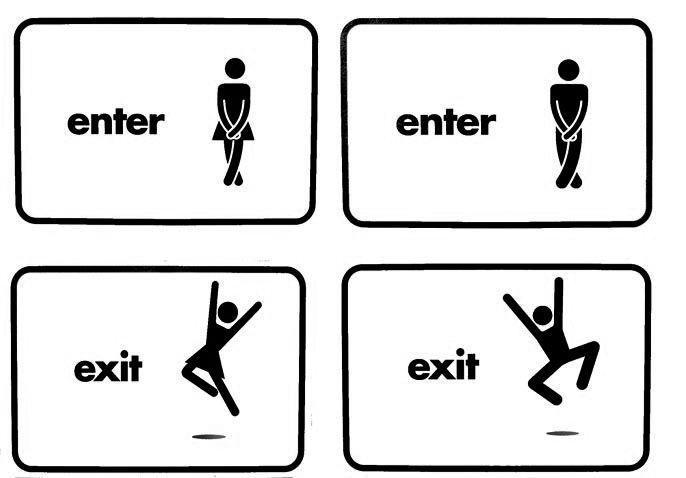 Dnes jsem si pro vás připravil sbírku designově povedených, navigačních symbolů pro toalety, které svým nápadem dotvářejí imagefirem, nebo jinýchprostředí