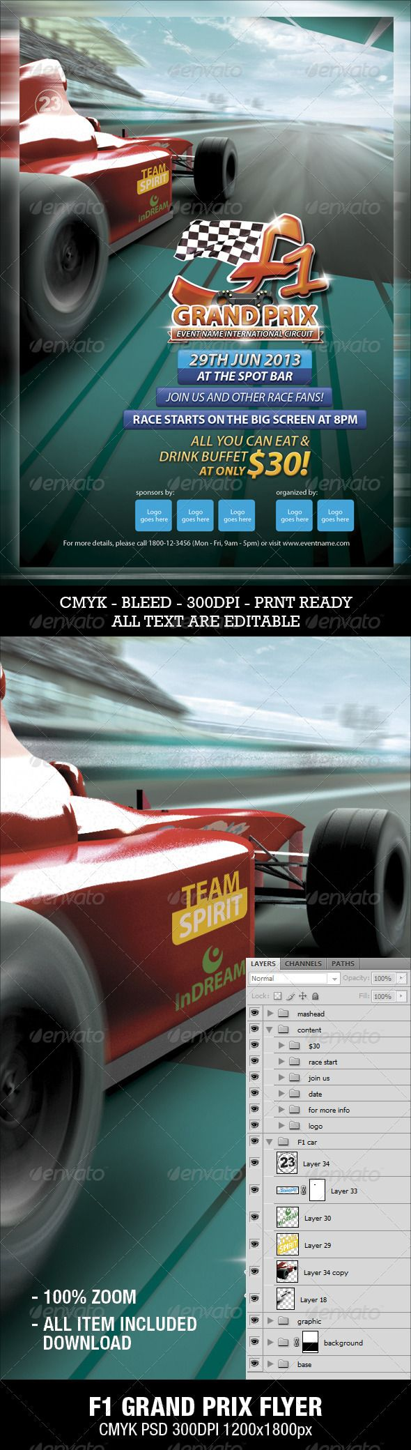 F1 Grand Prix Flyer  #chequered flag #steering • Click here to download ! http://graphicriver.net/item/f1-grand-prix-flyer/3286111?ref=pxcr