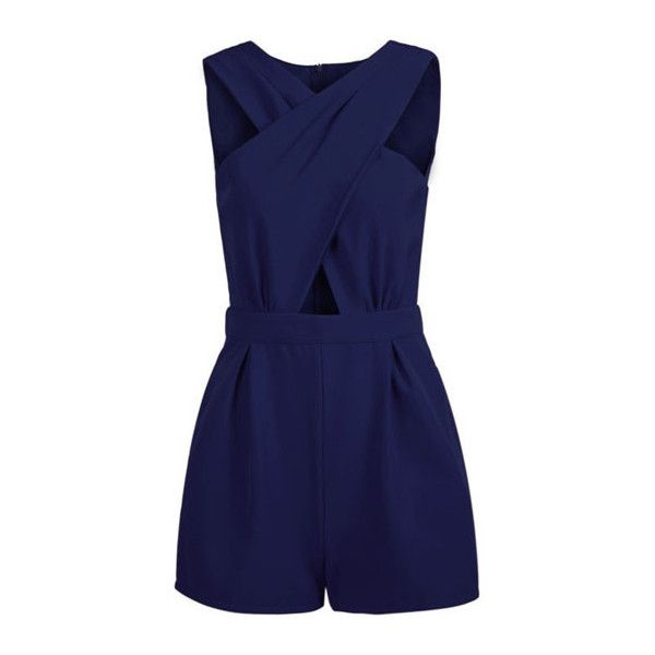 Rotita Navy Blue Cutout Design V Neck Sleeveless Straight Romper (130 VEF) ❤ liked on Polyvore featuring jumpsuits, rompers, dresses, playsuits, jumpsuit, overall, navy blue, navy blue rompers, navy blue overalls and blue romper