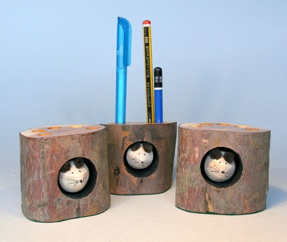 Handmade recycled Log Pencil Holder by Tom Thumb Designs ...