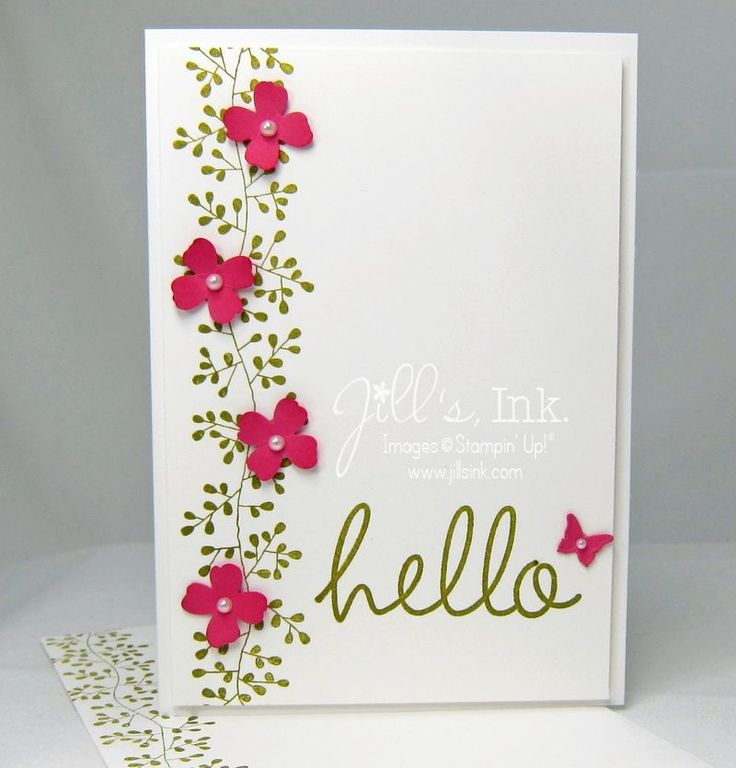 Bordering Blooms Note Card | Hi There #134213 (wood) #134216 (clear), Bordering Blooms #133660 (Photopolymer), Old Olive Classic Stampin' Pad #126953, Strawberry Slush Classic Stampin' Pad #131178, Whisper White Card Stock #100730, Strawberry Slush Card Stock #131295, Note Cards & Envelopes #131527, Itty Bitty Accents Punch Pack #133787, Pearls Basic Jewels #119247, Beautiful Wings Embosslits #118138,