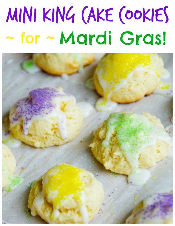 Mini King Cake Cookies for Mardi Gras!