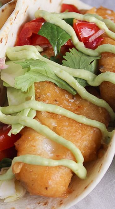 Chipotle Beer Battered Fish Tacos with Avocado Cream