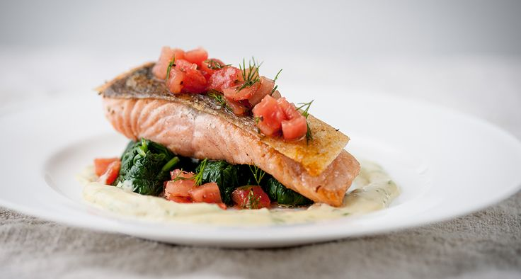 Pan-Roasted Wild Salmon & Dill-Mustard, by Chef Marcello Tully, is a quick recipe that combines the rich flavors of seared salmon fillets with a fragrant dressing of Maille Dijon mustard, white wine vinegar, hazelnut oil and dill.
