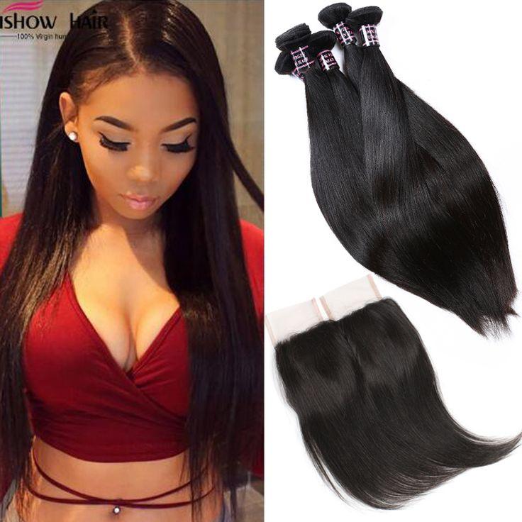 8A Brazilian Virgin Hair Straight With Closure Brazilian Virgin Hair 3 Bundles with Closure Brazilian Straight Hair With Closure