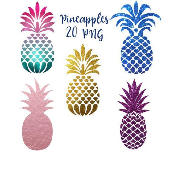Pineapple clip art, pineapples clipart, tropical fruit graphics