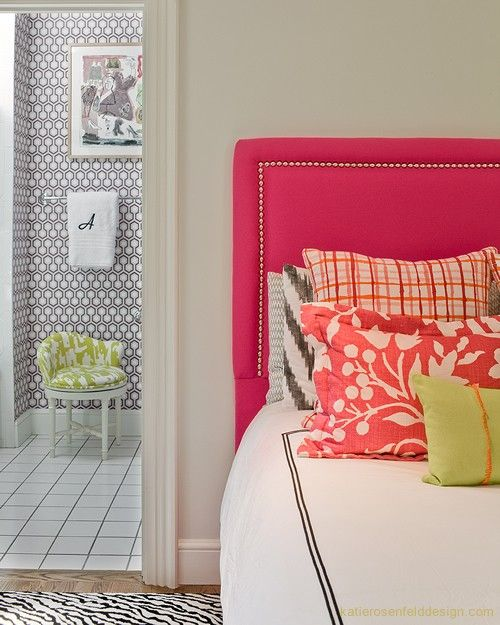 pink headboard, patterned wall paper, monogram hand towel (via 4 Men 1 Lady via House of Fifty) hicks hexagon wallpaper by Cole & Son in background.