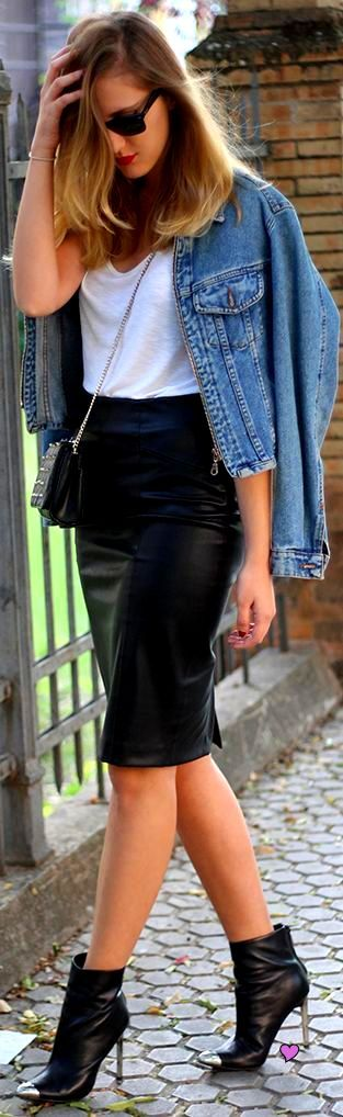 leather skirt and cap toe shobooties