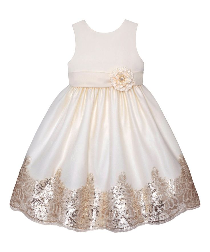 This Couture Princess Candlelight & Gold Sequin Floral Trim A-Line Dress - Toddler & Girls by Couture Princess is perfect! #zulilyfinds