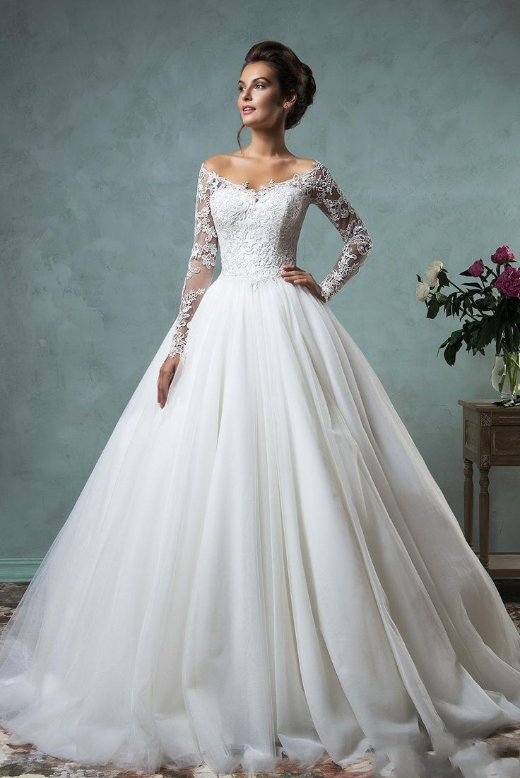 Best Selling 2016 Long Sleeves Puffy Wedding Dresses Vintage Lace Ball Gown Wedding Gowns Bateau Neckline Bridal Gowns Plus Wedding Dresses Sale Wedding Dresses From Gonewithwind, $291.46  Dhgate.Com