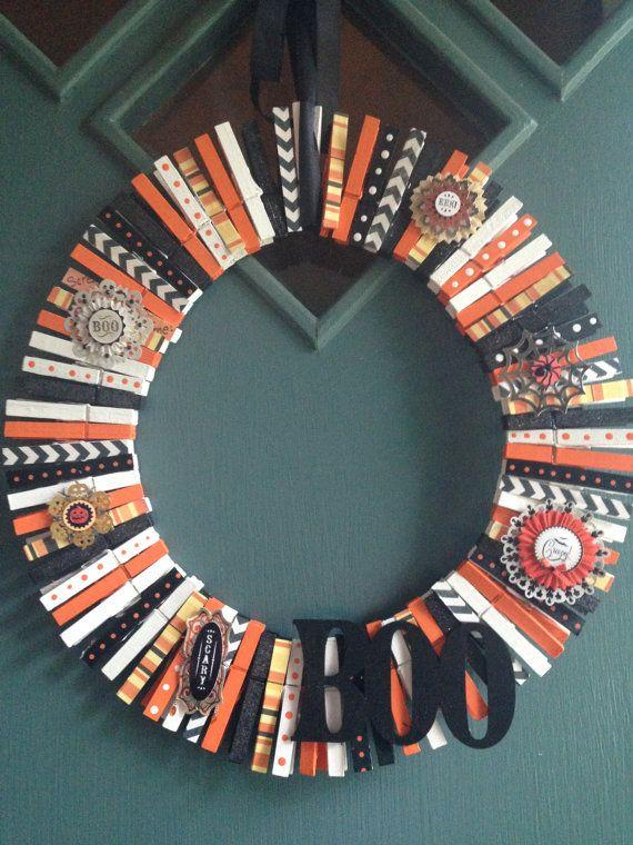 Clothes Pin Halloween Themed Wreath hand by BarbarasLaborofLove