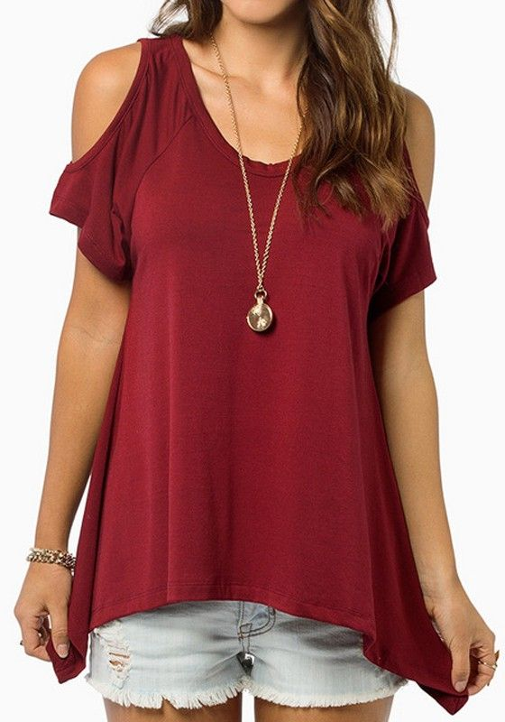 Love Wine! Love Summer! Wine Red Sexy Cold Shoulder Plain Short Sleeve Wrap Dacron T-Shirt  #Sexy #Wine #Red #Cold_Shoulder #Summer #Fashion