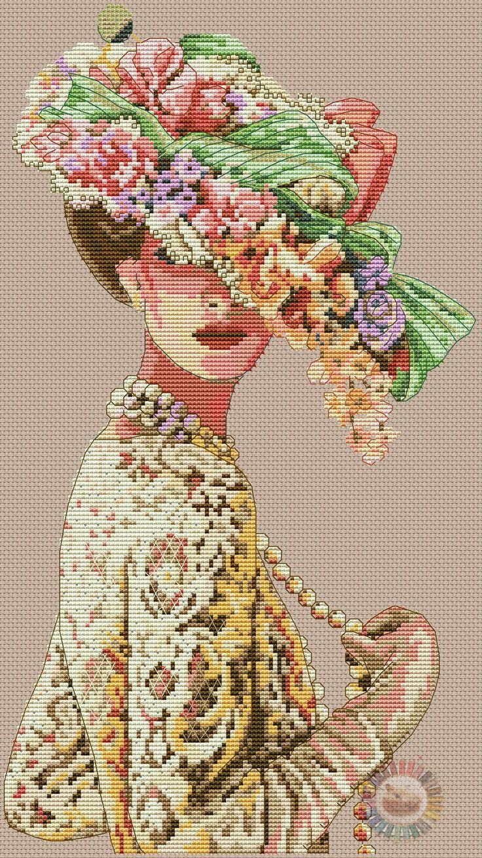point de croix femme victorienne en dentelle - cross stitch victorian lady in lace part 1