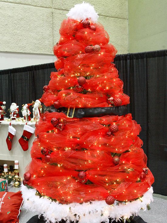 Santa-Inspired Christmas Tree cute but not for the main tree maybe 2 smaller ones