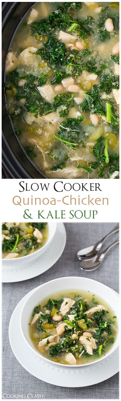 Slow Quinoa Chicken and Kale Soup - this is so healthy and so delicious! Of course, I'll have to replace the chicken with something.