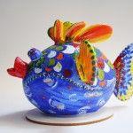 Pesce palla blu « Stone Painting Art di Maria Frazzica