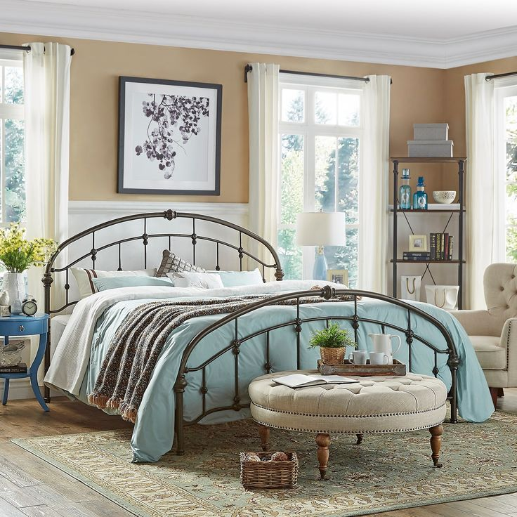 Lacey Round Curved Double Top Arches Victorian Iron Bed by Tribecca Home